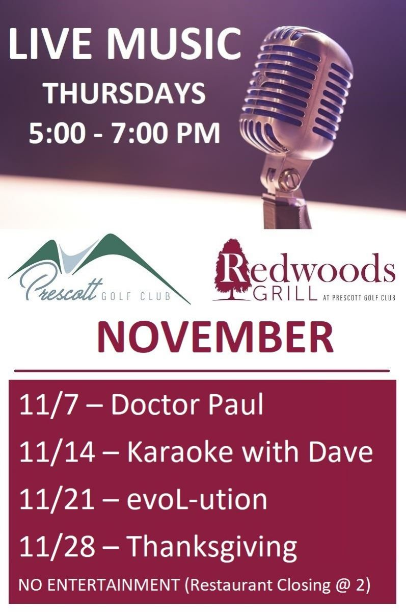 Flyer for live music at Redwoods Grill