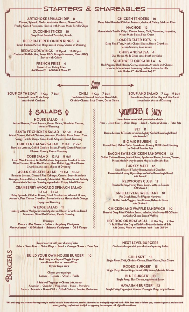 Menu for Redwoods Grill